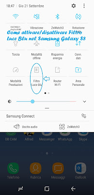 Come attivare/disattivare filtro luce blu Samsung S8: TUTORIAL