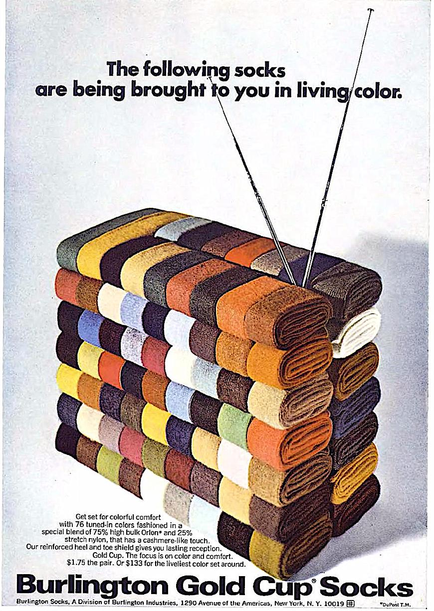"a Burlington Socks ad:  ""The following socks are being brought to you in living color."" (a reference to the 1968 NBC television slogan), a color photograph"