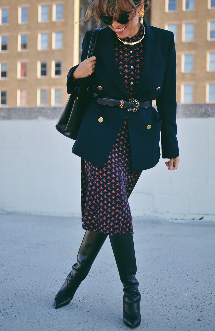 Midi dress with boots street style