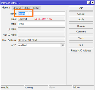 ganti nama interface mikrotik ether1