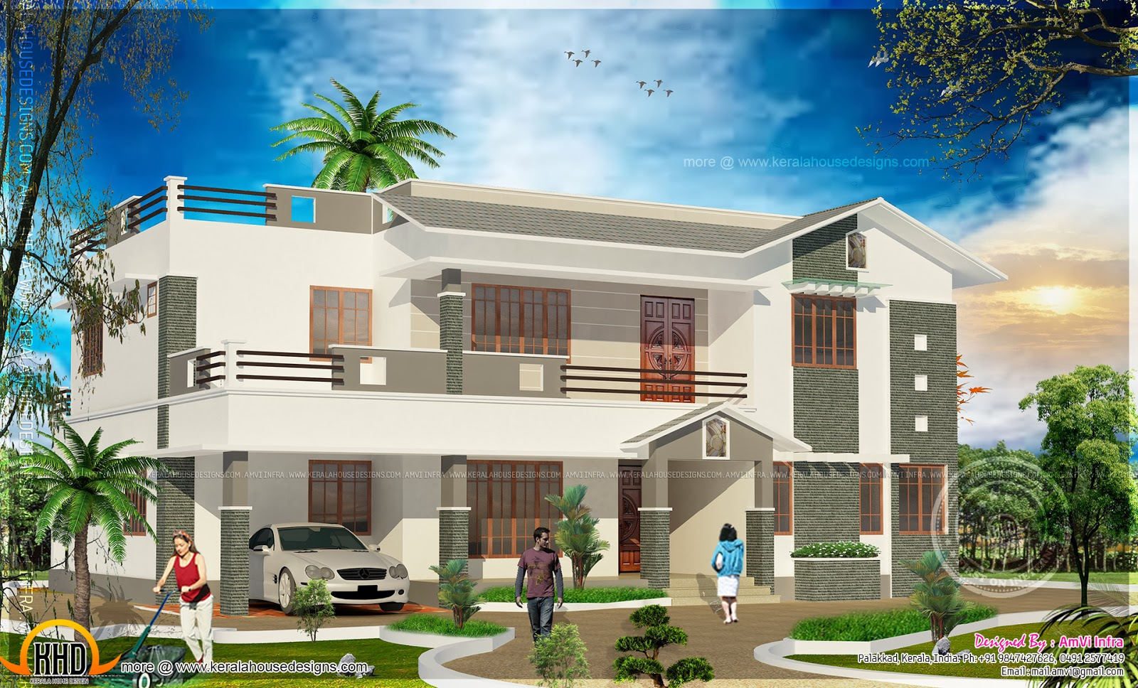 5 bedroom house elevation with floor plan - Kerala home ...