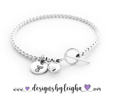 Initial Charm Bracelet with a Small Heart Charm
