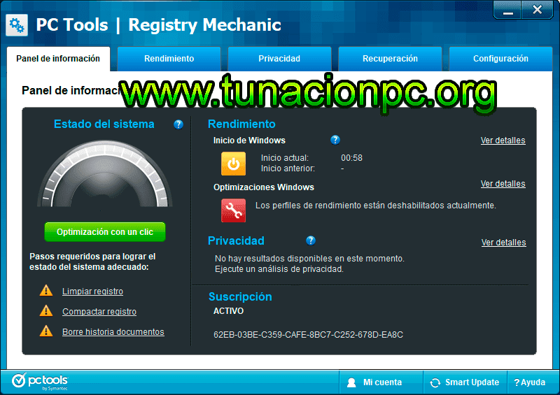 PC Tools Registry Mechanic Final, Limpia Registro