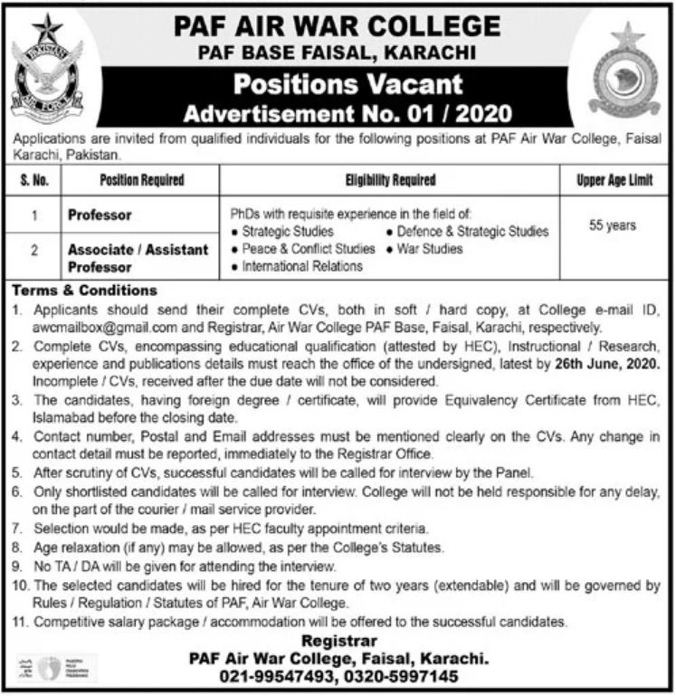 PAF Air War College Faisal Base Karachi Jobs