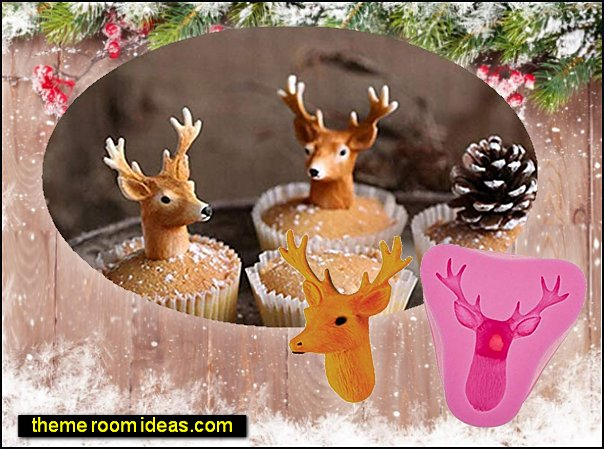 reindeer christmas cake moulds christmas cooking christmas entertaining 3D Christmas Chocolate Candy Baking Mould Cake Decoration Topper Elk