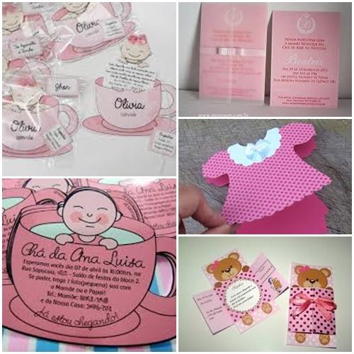 convites de chá de bebê de meninas