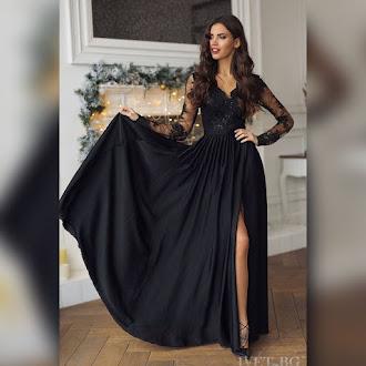 Εντυπωσιακό μάξι μαύρο φόρεμα AMELIA