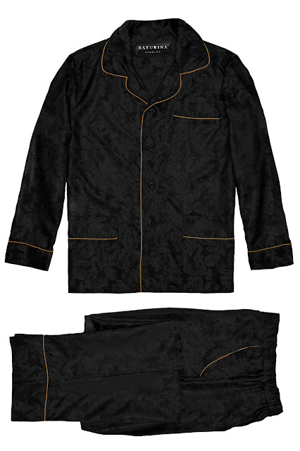 herren pyjama set schlafanzug seide schwarz gold paisley edel elegant stilvoll klassisch