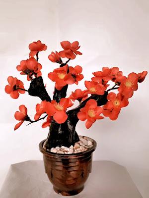 Gambar Bunga Artificial Sakura Warna Merah