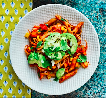 Mexican penne with avocado