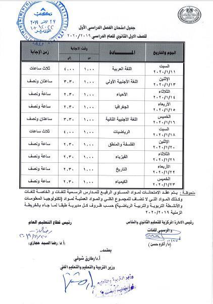 جدول إمتحانات الصف الاول الثانوى كاملا الترم الاول 2020