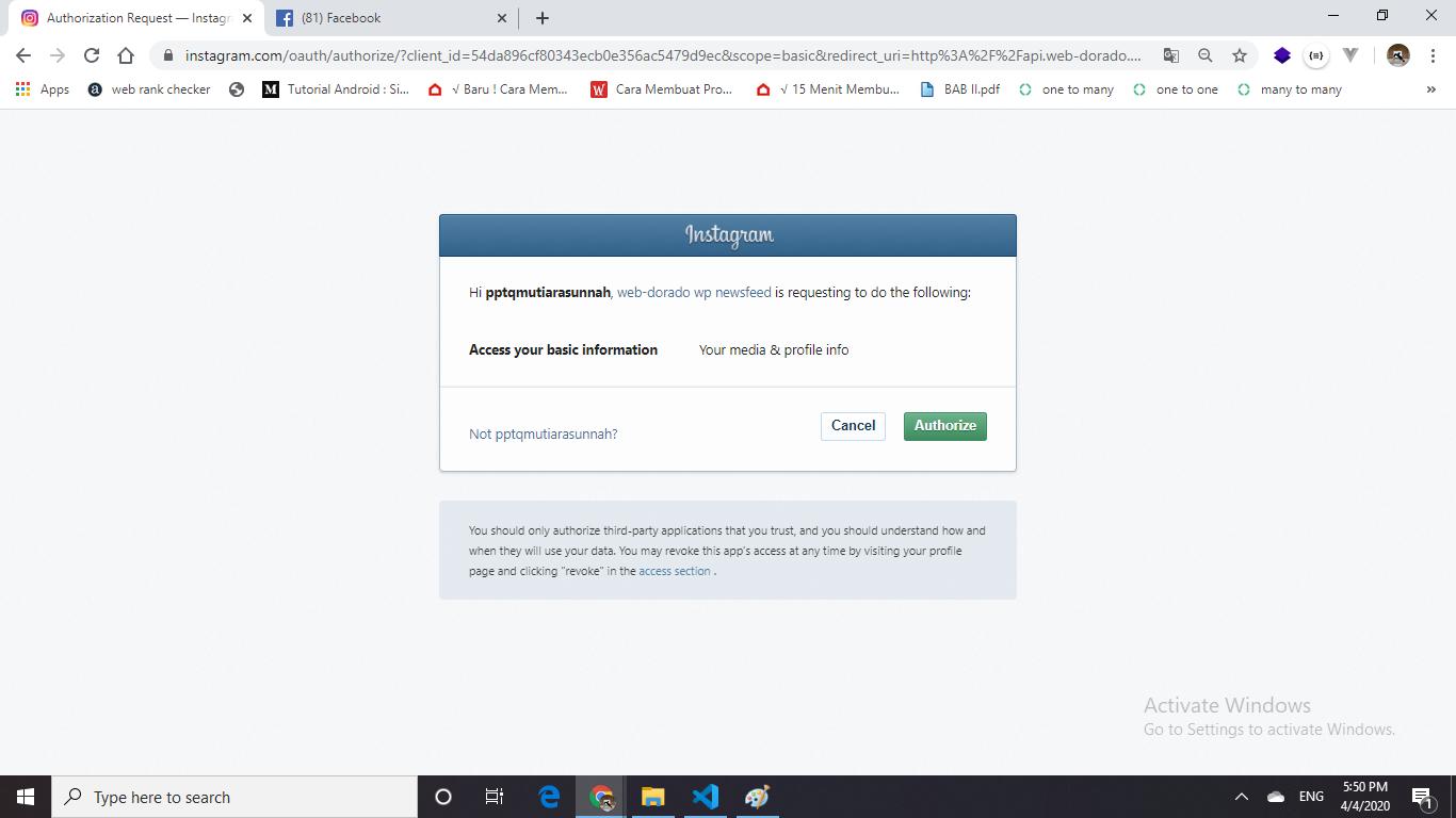 autorisasi akun instagram - sahretech