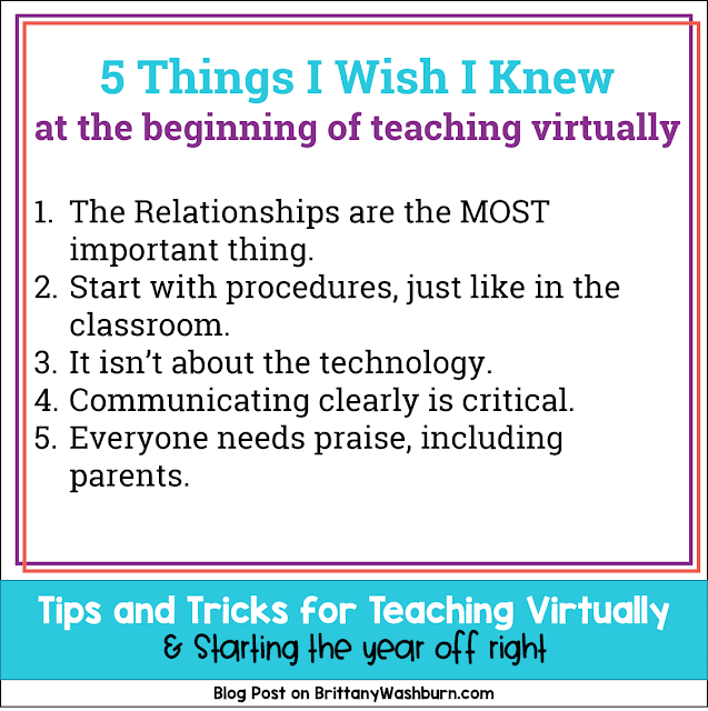 Teaching virtually might make you feel like a first year teacher all over again. My goal with putting this blog post together is to leave you feeling empowered! I want you to know that all of your teaching strategies can still be used, just in a new way. Hopefully these tips and tricks give you a place to focus your efforts and a vision of what is possible.