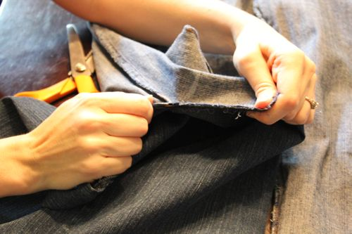 how to cut up jeans into strips