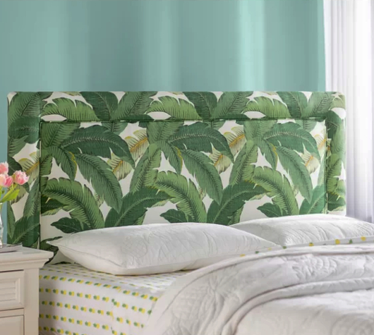 Banana Plam Green Leaf Fabric Upholstered Headboard