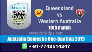 Who will win Today, 16th Match WAU vs QUN, Australia Domestic One-Day Cup 2019