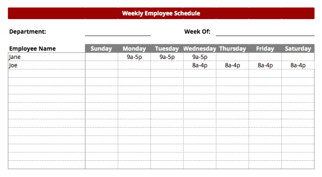 free printable weekly work schedule template excel template