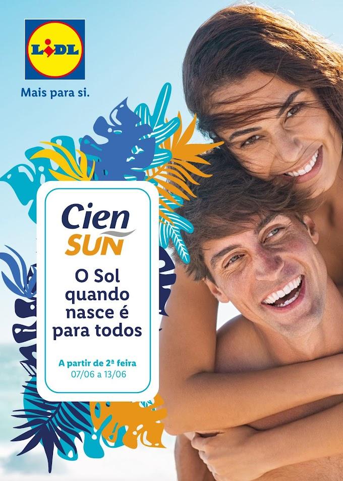 """Folheto LIDL - """"Mais Para Si-Cien Sun O Sol Quando Nasce é Para Todos"""" com descontos até 13 de junho"""