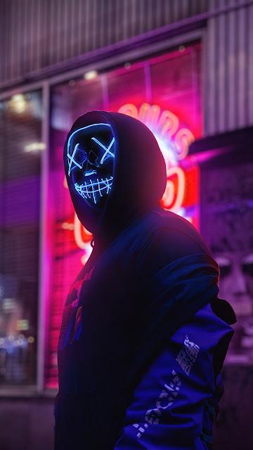 HD Hoodie Guy Neon Blue Mask Wallpaper