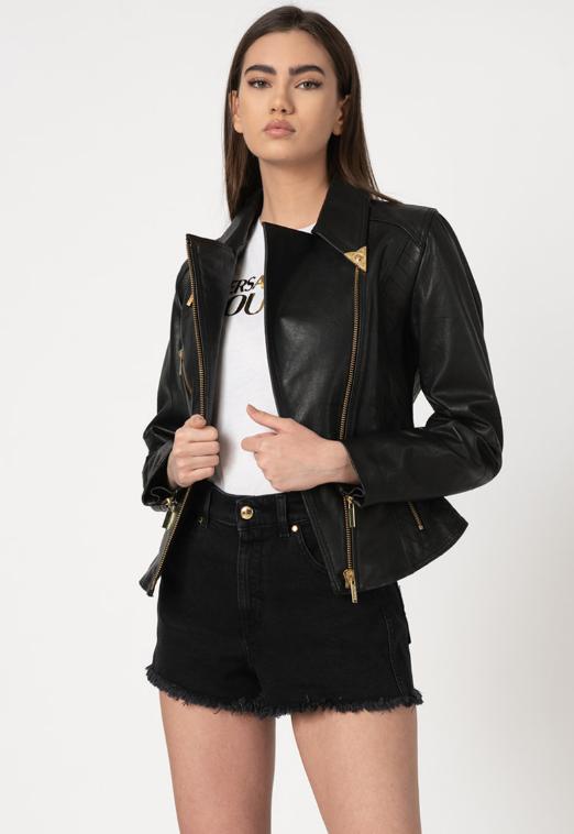 Versace Jeans Couture Jacheta femei neagra cambrata de piele