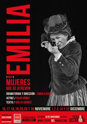 Sobre un fondo negro y letras rojas aparece la imagen de Emilia Pardo Bazán de medio cuerpo, de frente, apuntando con una escopeta al espectador