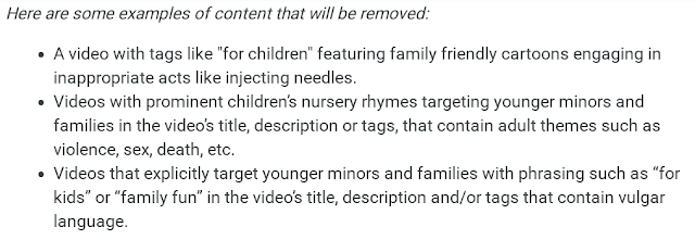 Examples of content aimed at kids that will now be removed