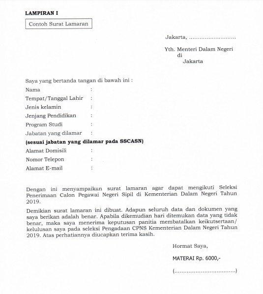 Contoh Surat Lamaran Kerja CPNS (via: suara.com)