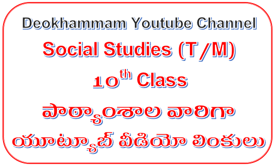 SSC(10th Class) Social Studies Subject Telugu Medium Lesson wise and Topic wise Youtube Video Links at one Page - Deokhamma Youtube Channel