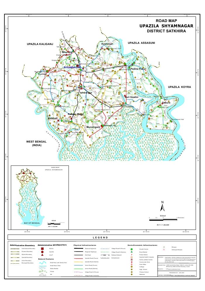 Shyamnagar Upazila Road Map Satkhira District Bangladesh