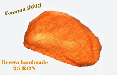 bereta handmade toamna 2013 portocalie tricotata manual