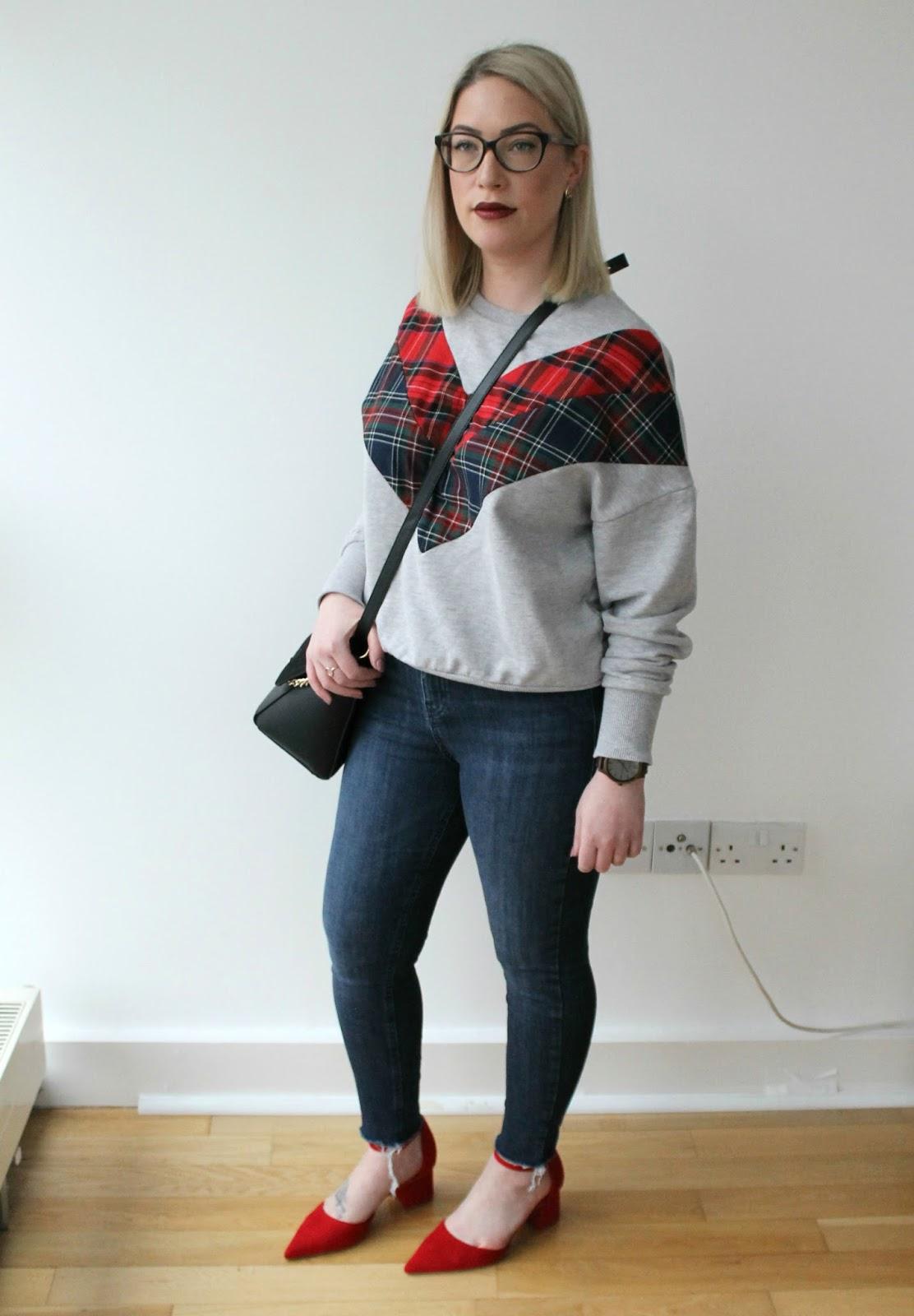 Red Tartan Sweatshirt, Chloe Dupe Bag, Topshop Skinny Jeans