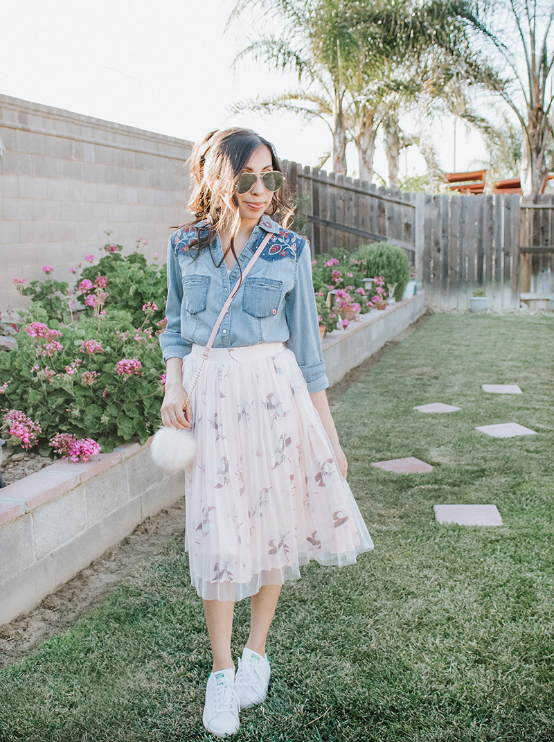 feminine and modest chambray tulle skirt outfit