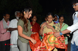 Actress Sri reddy (apthatrust director) Distrubuted Blankets for Orphans at Sai Baba Temple  0043.JPG
