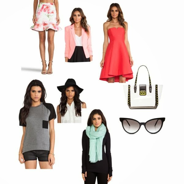 summer time, summer time wants, scarves, dresses, revolve clothing, color block top, sun glasses, polyvore, bag, hats, floppy hats, floral skirt