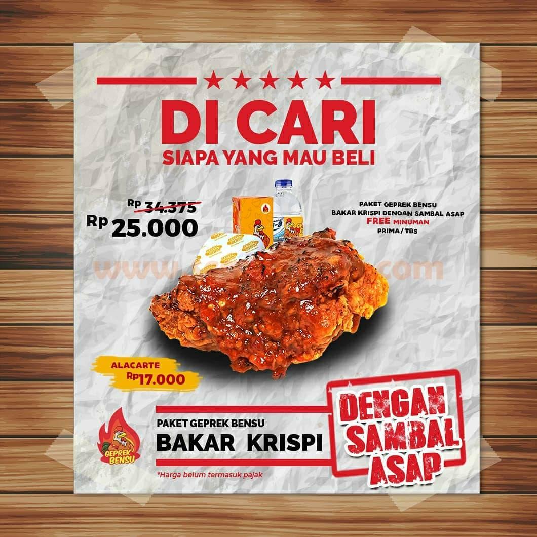 GEPREK BENSU Promo Paket Ayam Bakar Krispi Hanya Rp 25.000