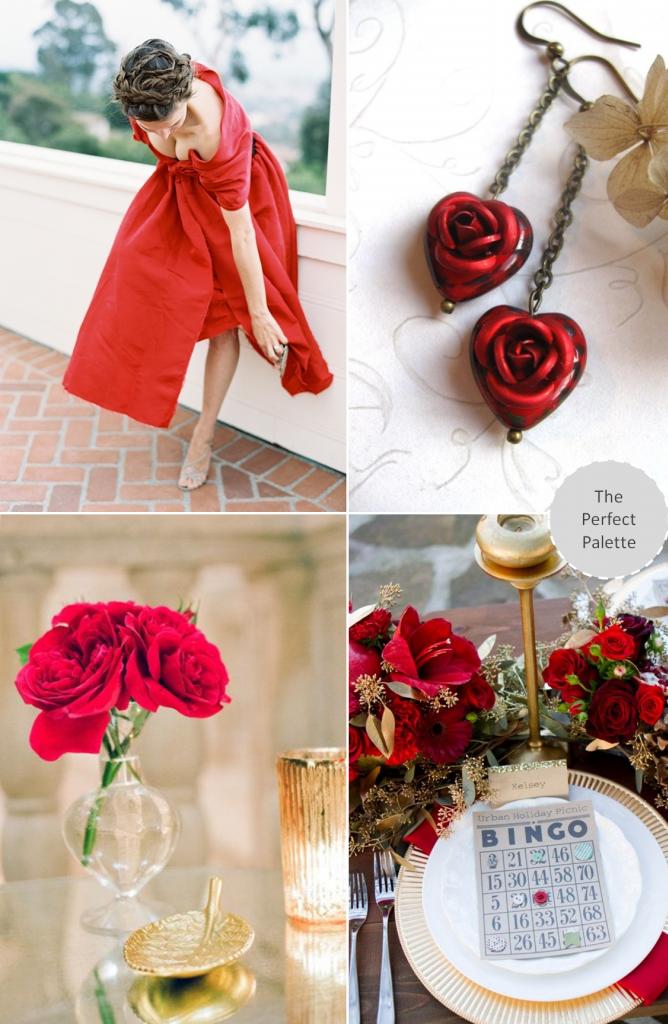 Red colour palette wedding