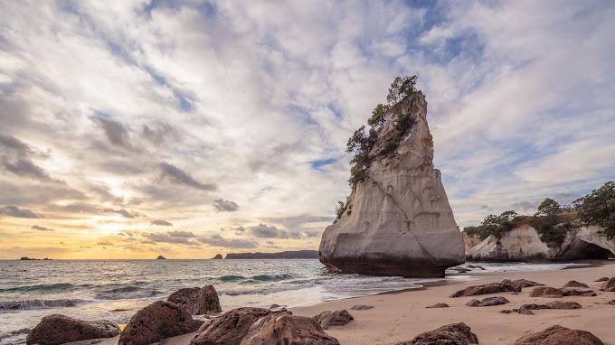 Natureza, Rocha, Areia, Praia, Ondas, Nuvens