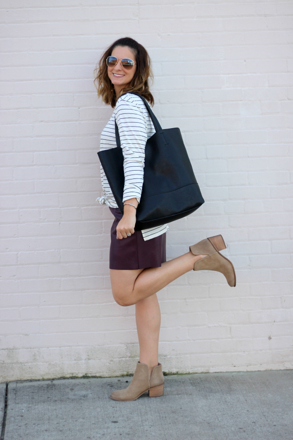 happiness boutique, fall style, how to style faux leather, north carolina blogger, mom style