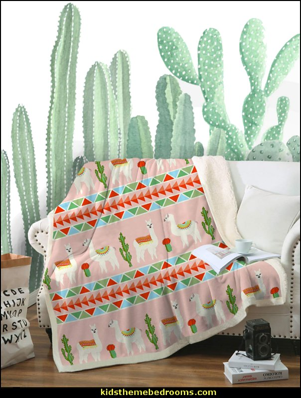 Llamas Colorful Aztec Sherpa Fleece Blanket Throw  Large Cactus Wall Decals
