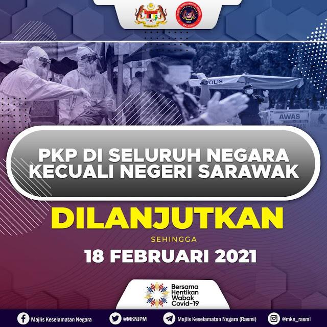 PKP 2.0: Kerajaan Bersetuju Untuk Melanjutkan PKP Sehingga 18 Februari 2021
