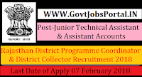 Rajasthan District Programme Coordinator & District Collector Recruitment 2018– 34 Junior Technical Assistant & Assistant Accounts