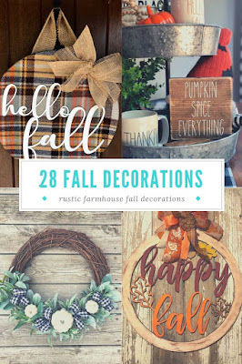 Rustic farmhouse fall decorations for your home. Decorating is simple with these modern pieces for your kitchen, entryway, porch, living room, bedroom, and fireplace mantle. Includes black and white buffalo check, pumpkins, garland, wreath, and signs for decorations. These modern farm house pieces are for a centerpiece or tablescape or your walls or front door.  #rustic #farmhouse #fall