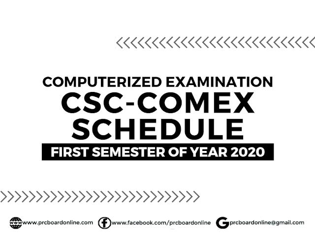 Civil Service Examination Computerized Examination (CSC-COMEX) Schedule & Details F.Y. 2020