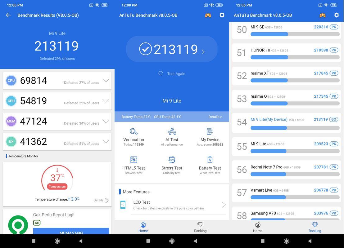 Benchmark AnTuTu v8 Xiaomi Mi 9 Lite