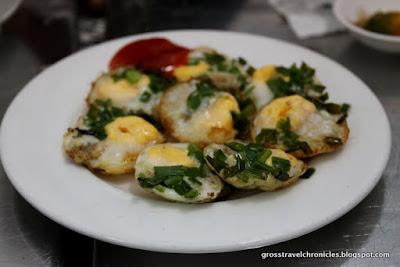 scallops, quail egg