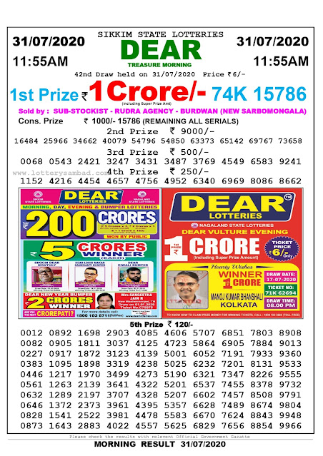 Lottery Sambad Result 31.07.2020 Dear Treasure Morning 11:55 am