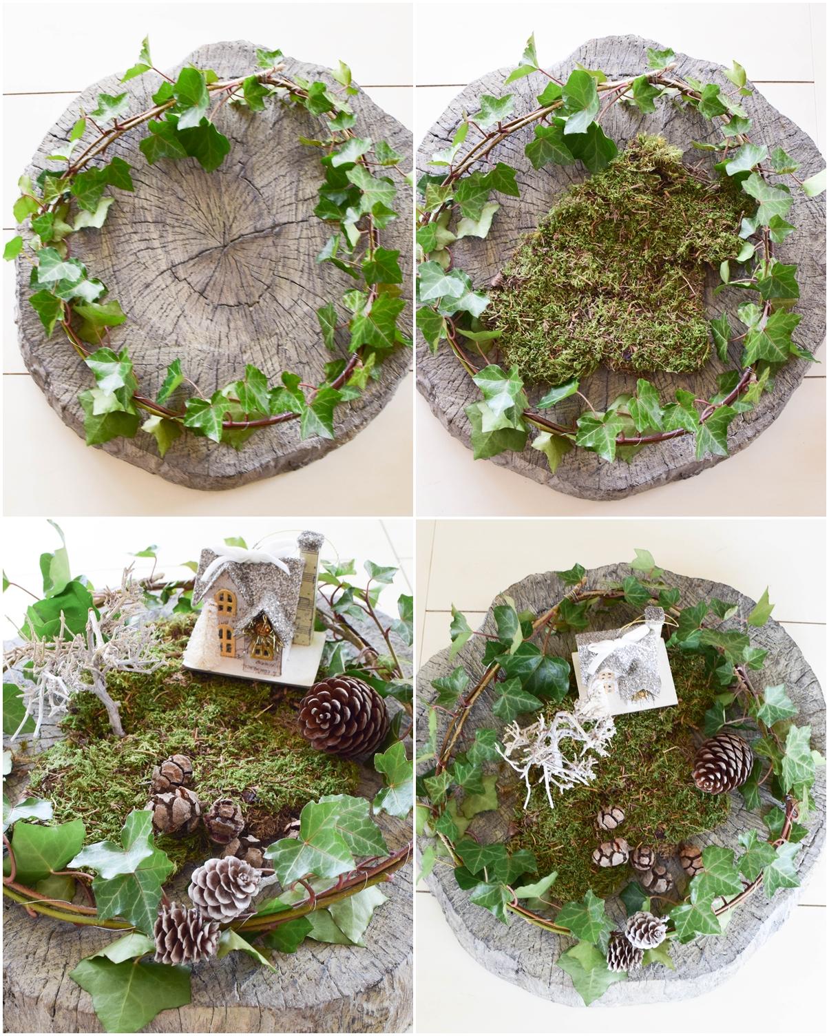 DIY Tischdeko, Dekoidee für den Tisch und Konsole mit Natur, Hirsch, Efeu. Moos. Schale, Dekoidee, Winnter Herbst, Deko, Dekoration, DIY