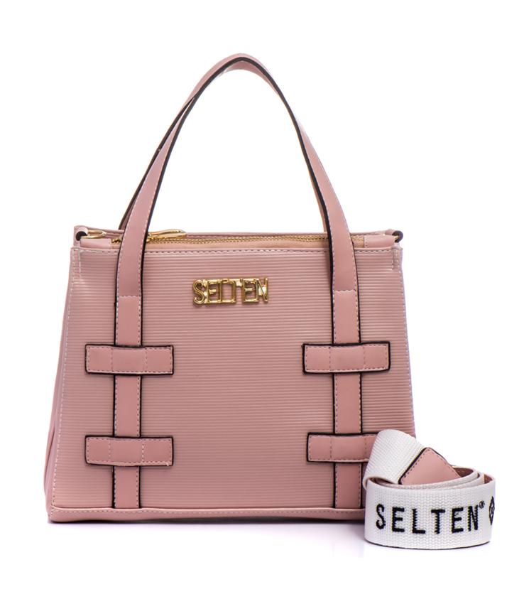 c20bb1678 Bolsa Feminina Selten de Mão com Alça Transversal Rosa - Selten Bolsas