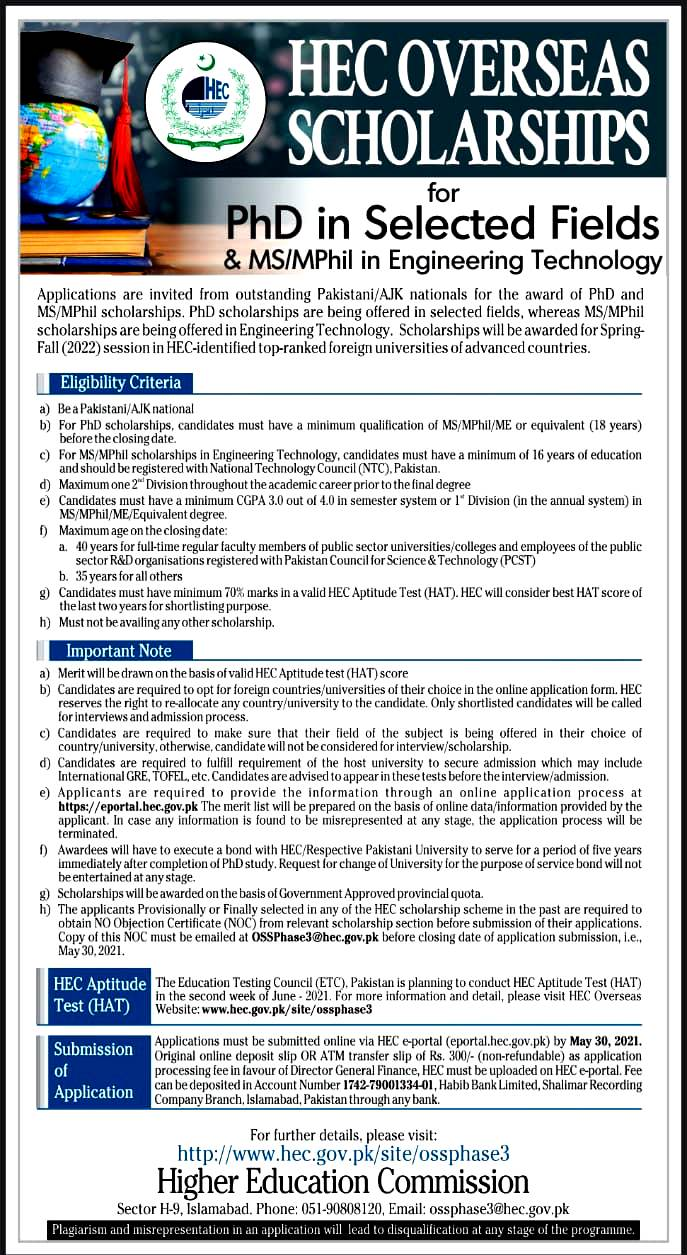 Higher Education Commission (HEC)  Overseas Scholarship Phase III, Batch 3 May 2021 - Apply 0nline