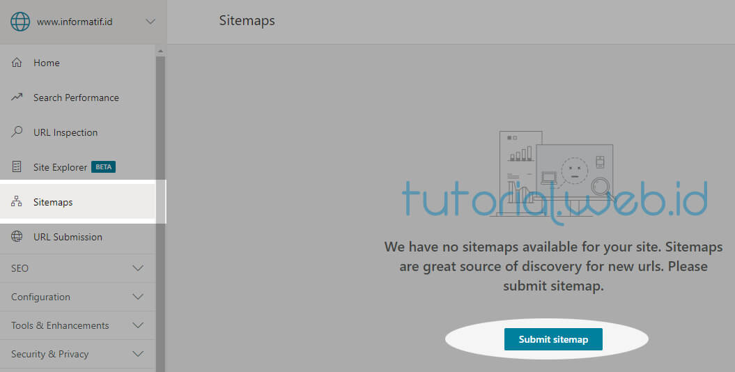Cara Submit Sitemap Blog Ke Bing 1 Pilih Submit Sitemap